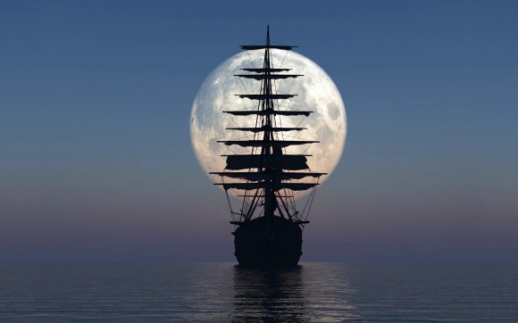 ship-moon-sea-night-calm-3d-1600x2560