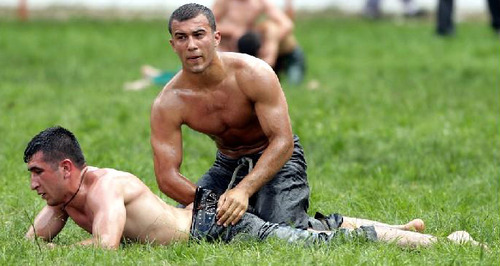 nude guy bent over