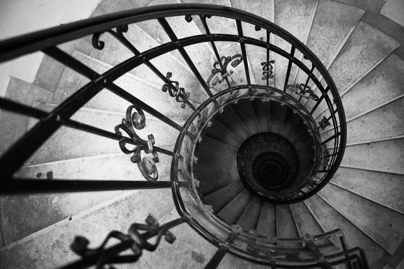 downward spiral staircase