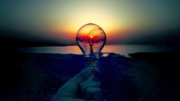 light bulb in sunset