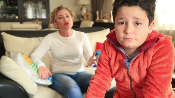 angry mom and son