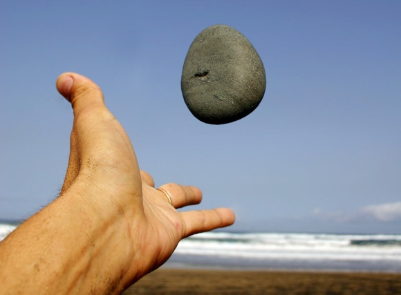 throwing a stone