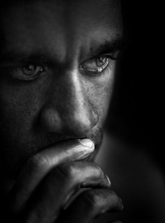 man sad with grief
